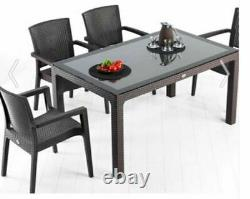 Garden Furniture Set Patio Outdoor Table And Chairs 6 Seater Rattan Glass Top