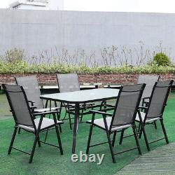 Garden Patio Black Furniture Glass Table and Foldable Chairs Set Parasol Hole UK