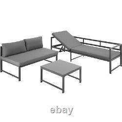 Garden Seating Set Table Aluminium Patio Furniture Lounge Sofa Outdoor Grey New