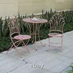 GlamHaus Metal Bistro Set Garden Patio Furniture Outdoor 3 Piece Table Chairs