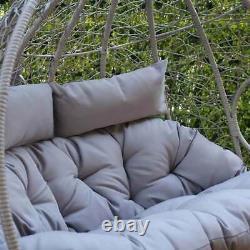 Grey Double Rattan Hanging Egg Chair Garden Outdoor Patio Furniture Seat