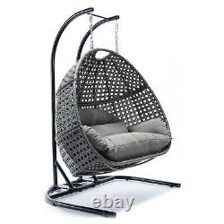 Grey Rattan Egg Cocoon Swing Garden Chair Sofa Settee Patio Furniture Outdoor
