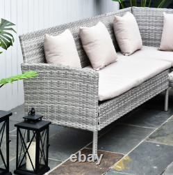 Grey Rattan Garden Furniture Patio Dining Glass Table Large Corner Sofa Seat Set