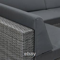 Grey Rattan Modular Corner Sofa Settee Seating Set Garden Patio Furniture