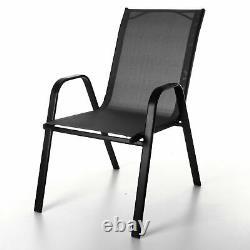 Grey Textoline Bistro Chairs Garden Furniture Patio Outdoor Indoor Chairs Seats