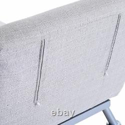 HOMCOM Futon Sofa Bed Bolster Foldable Lounge Modern Portable Grey