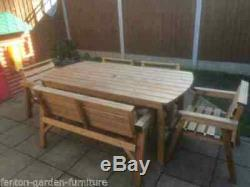 Heavy Duty Wooden Garden Patio Furniture 6 ft table 1 Bench and 4 Chairs