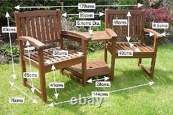 Henley Love Seat Chunky Garden Furniture Companion Set Corner Bench FreeDelivery
