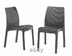 Keter Bistro Balcony Patio 2 Seater Rattan Outdoor Garden Furniture Set Graphite