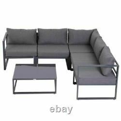 Large 5 Seat Corner Sofa Chairs Garden Set Coffee Table Outdoor Patio Furniture