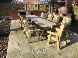 Large Wooden garden table and chairs set solid patio furniture tanalised (ERG12)