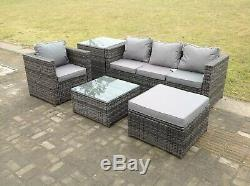 Lounge rattan sofa set with 2 table stool outdoor garden furniture patio grey