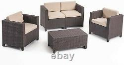 NEW CHRISTOPHER KNIGHT Rattan Garden Furniture Patio Sofa Table Set Z15 C74