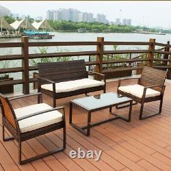 New Rattan Garden Furniture Set 4 Piece Chairs Sofa Table Outdoor Patio