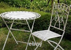Outdoor Garden Metal Furniture Bistro Set Patio Table Two Chairs Antique White