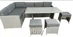 Outdoor Grey Rattan Garden Furniture 9 Seat Corner Sofa & Dining Table Patio Set