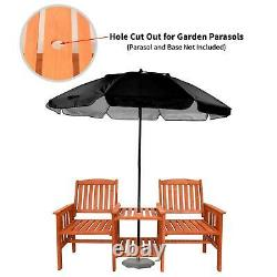 Outdoor Hardwood 2 Seater Bench Garden Furniture Two Person Patio Love Seat