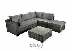 Outdoor Rattan Corner Sofa Set Garden Furniture Patio Grey With Footstool