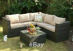 Outdoor Rattan Garden Furniture 5 Seater Corner Sofa Patio Set with Cover Option