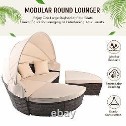Outdoor Round Sofa Bed Patio Garden Daybed Furniture Set Sun Island Lounge Beige