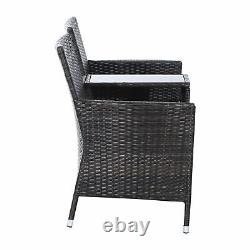 Outsunny 2 Seater Rattan Chair Garden Furniture Patio Love Seat With Table Brown