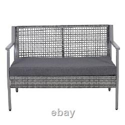 Outsunny 2 Seater Rattan Loveseat Bench Outdoor Patio Garden Furniture with