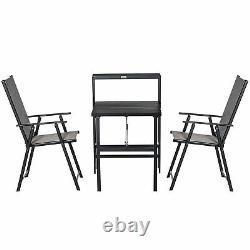 Outsunny 3 Pcs Folding Garden Furniture Set with Side Shelf Outdoor Patio Balcony