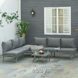 Outsunny 3 Pcs Garden Seating Set with Sofa Lounge Table Outdoor Patio Furniture