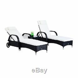 Outsunny 3PC Rattan Sun Lounger Table Patio Recliner Day Bed Garden Furniture