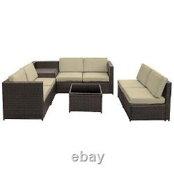 Outsunny 8Pcs Patio Rattan Sofa Set Garden Furniture Coffee Side Table withCushion