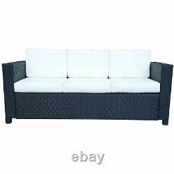 Outsunny Rattan Sofa Furniture Patio Garden Outdoor Wicker 3 Seater Chair Black