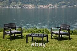 Patio Set Garden 3 Piece Furniture Set Of 2 Chairs 1 Coffee Table & Cushions