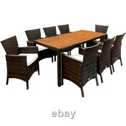 Poly Rattan Garden Dining Table Chairs Furniture Set Wooden Rectangular Patio