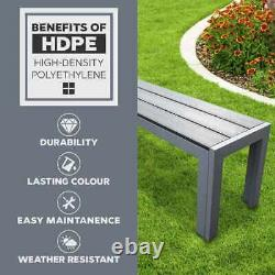 Polywood Outdoor Dining Table Durable Garden Furniture Aluminium Frame in Grey