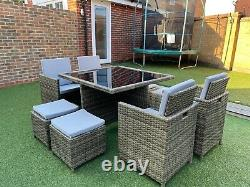 RATTAN GARDEN FURNITURE CUBE SET 4x CHAIRS, 4x STOOLS & TABLE OUTDOOR PATIO