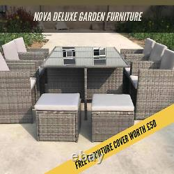 Rattan 10 Seater Garden Dining Furniture Cube Sofa Set Table Outdoor Patio 11