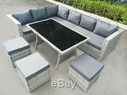 Rattan Corner Garden Furniture Set Light Grey Outdoor Patio Dining Table & Sofa