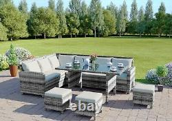 Rattan Corner Sofa Garden Patio Furniture Set Dining Table Stool Grey FREE COVER