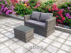 Rattan Corner Wicker Garden Outdoor Table And Chairs Furniture Patio Set Grey