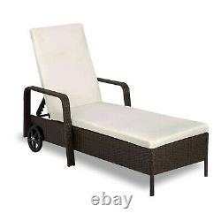 Rattan Day Bed Garden Furniture Outdoor Patio Reclining Sun Lounger Black Brown