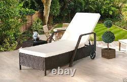Rattan Day Bed Reclining Sun Lounger Outdoor Garden Furniture Patio Set New