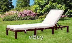 Rattan Day Bed Sun Lounger Recliner Chair Outdoor Garden Furniture Patio Terrace