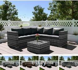 Rattan Garden Furniture 4 Seater Corner Lounge Coffee Table Outdoor Patio Set
