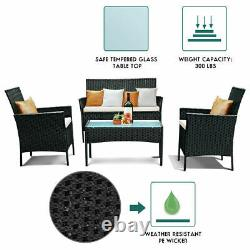 Rattan Garden Furniture 4Pc Set Conservatory Patio Outdoor Table Chairs Black UK