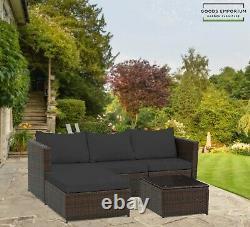 Rattan Garden Furniture Corner Lounger Sofa Set 4 Seat Seater Patio Conservatory