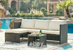 Rattan Garden Furniture Corner Sofa Set Grey Brown Black Patio Outdoor Lounge