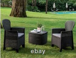 Rattan Garden Furniture Patio Set Table & Chairs Set 2 Garden Chairs & Cushions