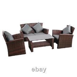 Rattan Garden Furniture Patio Sofa Mixed Brown Conservatory Lounge Armchairs Set