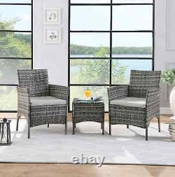 Rattan Garden Furniture Set 3 Piece 2 Chairs Table Outdoor Patio Conservatory