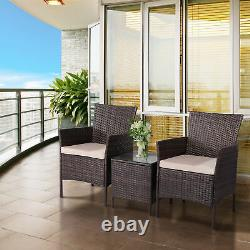 Rattan Garden Furniture Set 3 Piece Chairs Sofa Table Outdoor Patio Conservatory